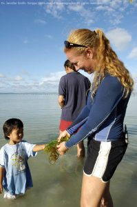 Dr. Jennifer Smith on a seaweed farm