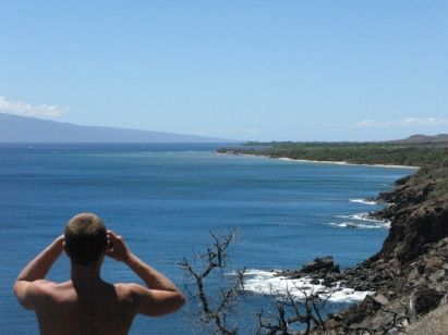 Niko scopes the sediment plume at Ukumehame