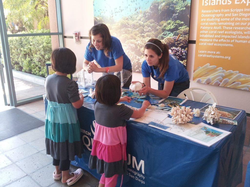 Jill Haris & Lindsay Bonito teaching kids about coral.