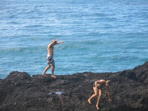 Doing the a'a dance.  Lava rock hurts!